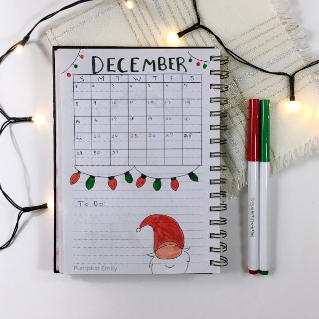 December 2019 Bullet Journal Calendar