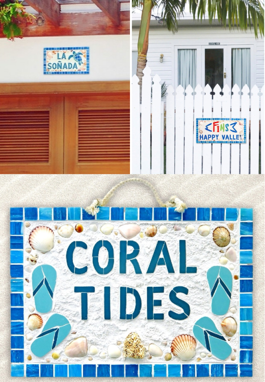 Coastal Art Mosaic Tile House Plaque Signs