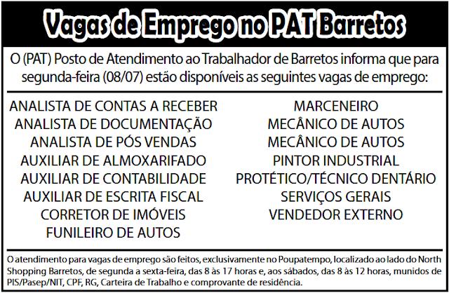 VAGAS DE EMPREGO DO PAT BARRETOS-SP PARA 08/07/2019 (SEGUNDA-FEIRA)