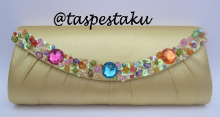 Handmade Tas Pesta Mewah Elegant Gold Payet Warna Warni