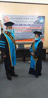 AKBP Dr. Dadang Djoko Karyanto Beserta Istri Raih Gelar Doktor Kependidikan Dengan Predikat Cumlaude.