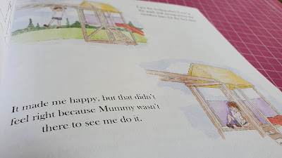 It's okay to feel happy book review for bereaved children inside image of child playing