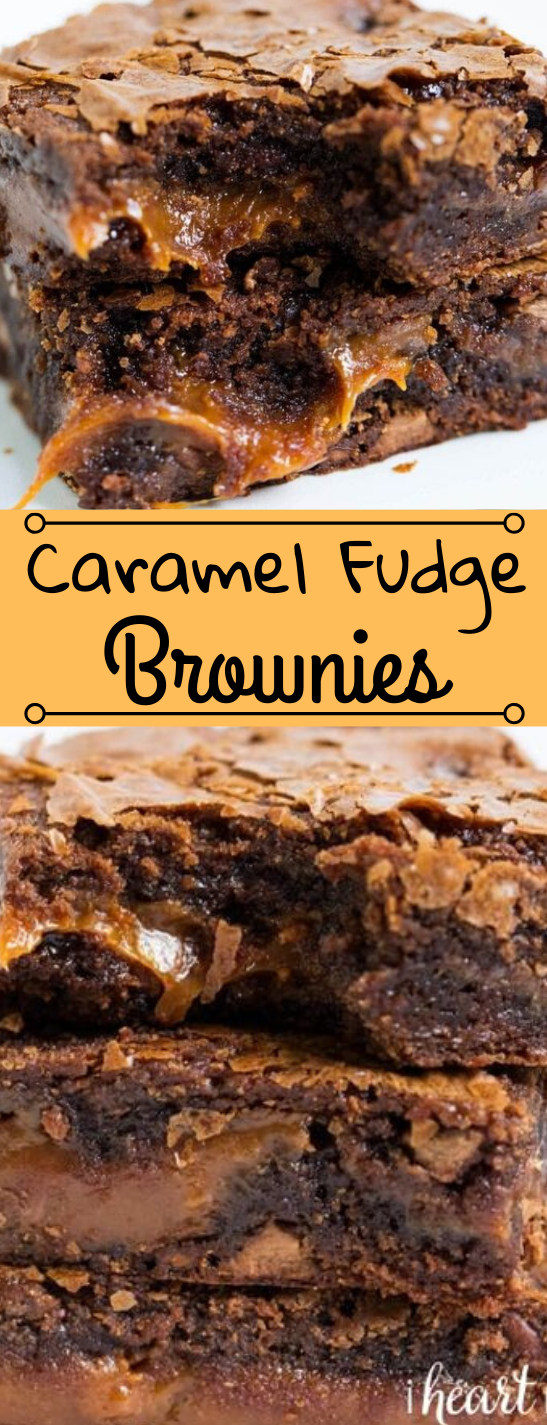 CHOCOLATE FUDGE CARAMEL BROWNIES #desserts #cake #brownies #chocolate