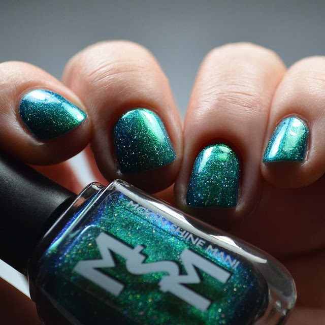 green to blue flakie multichrome nail polish swatch