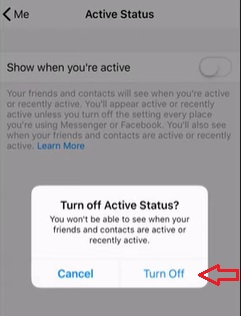 Click on turn off to appear offline on Facebook messenger - Helps to understand