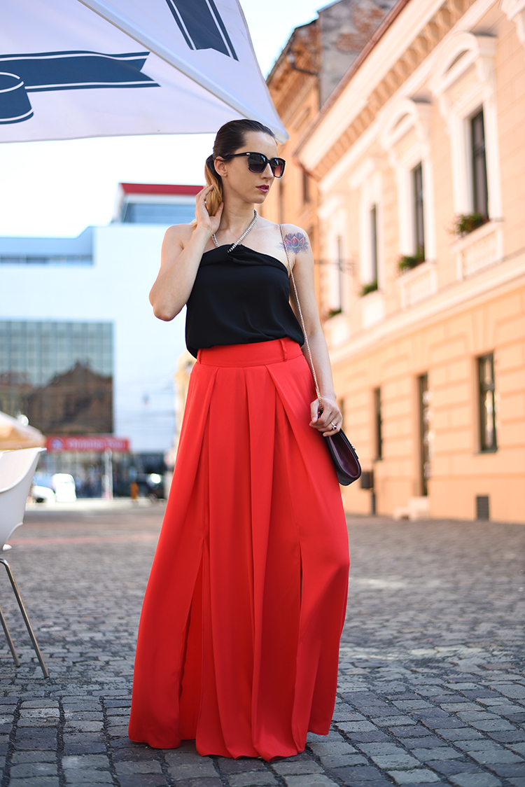 chain top red palazzo pants