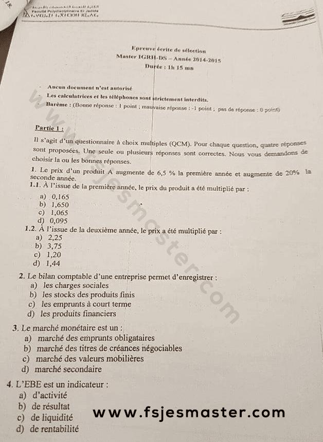 Exemple Concours Master IGRH-DS 2014-2015 Fp-El Jadida