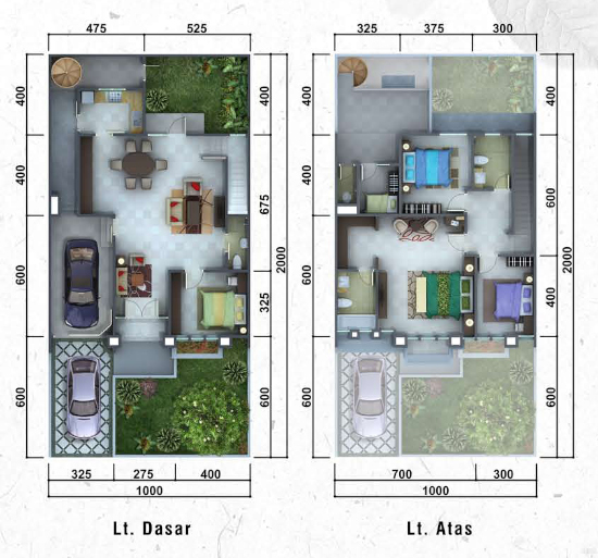 Denah rumah minimalis ukuran 10x20 meter 4 kamar tidur 2 lantai