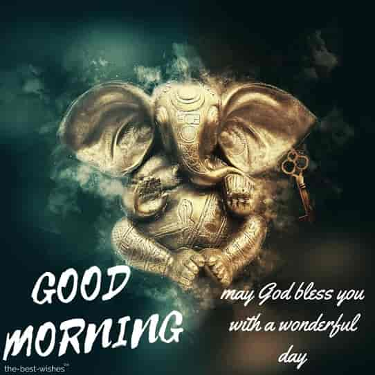 good morning may god ganesha bless you with a wonderful day image
