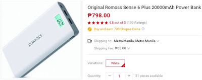 Shopee Romoss Sense 6 Plus