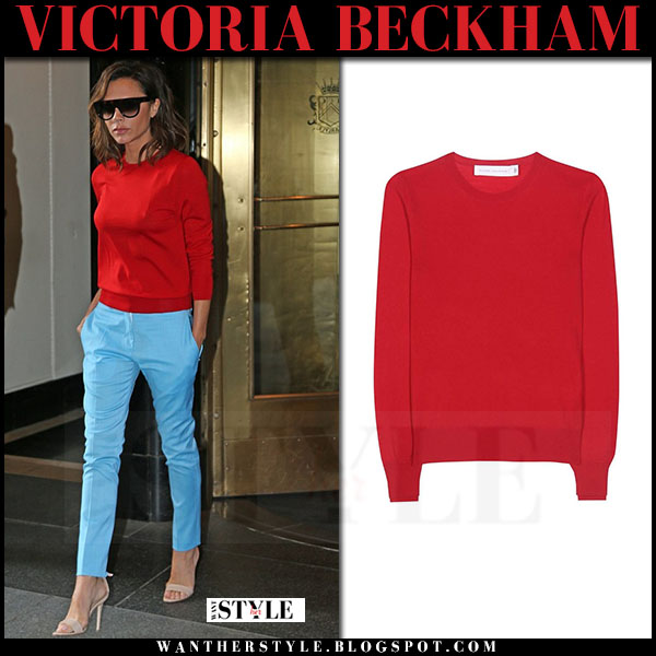Victoria Beckham in red sweater and blue pants what she wore streetstyle