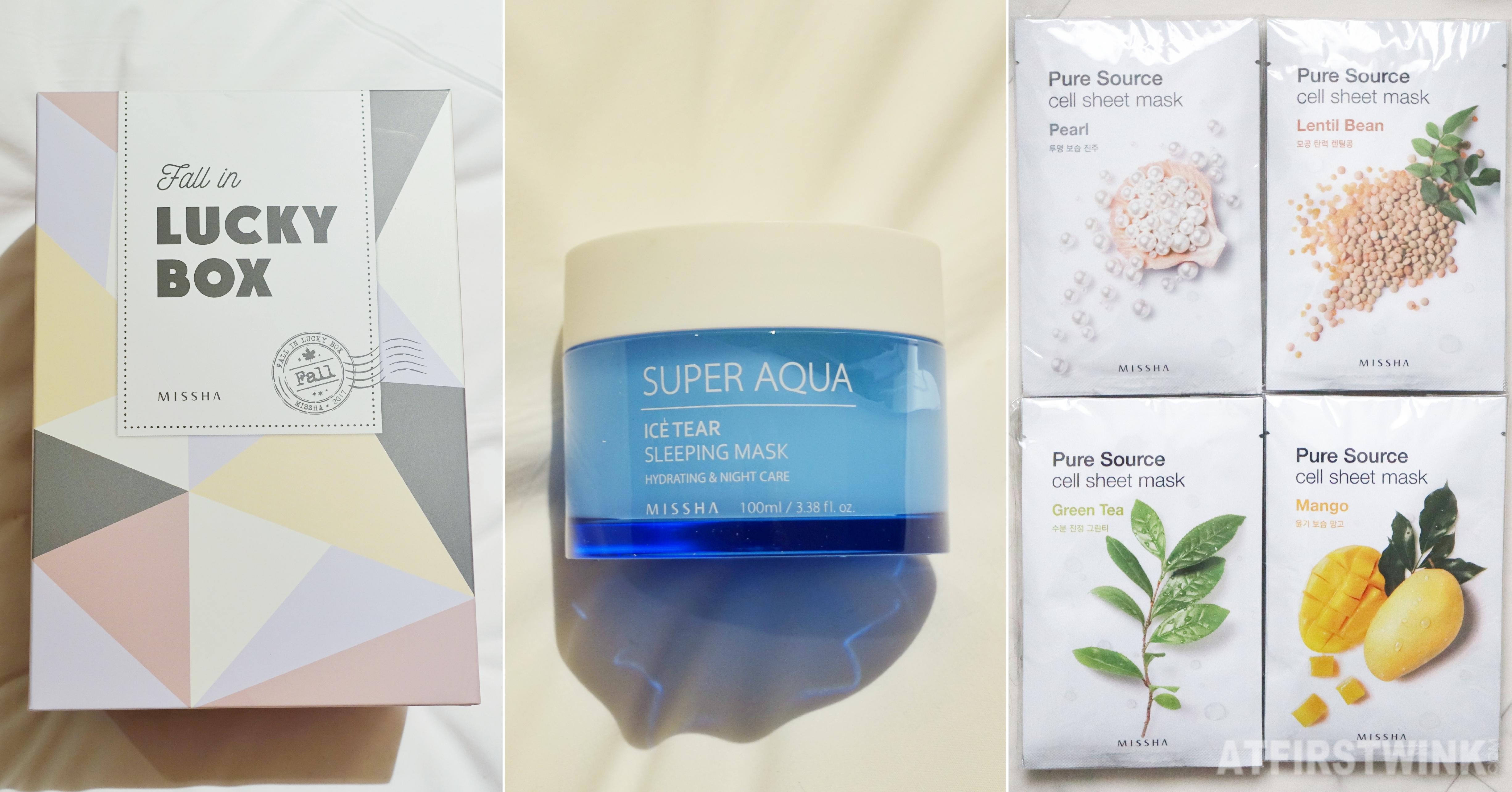 Missha fall in lucky box cream pure source sheet masks