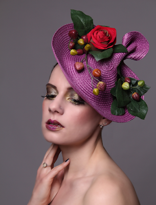 Mystic Magic, Hunger Games, Fashion, Avant Garde, couture, creative makeup, photography, photo, futuristic fashion, ascot head wear, headpiece, royal ascot, inspirational, creative, high fashion, summer, floral, purple, plum, rose, french,