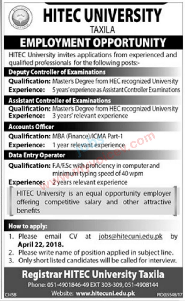 ⇨ Jobs – Career opportunities at HITEC University Taxila - Apply by 22nd April