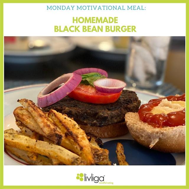 Livliga Homemade Black Bean Burger on Halsa Dinner Plate