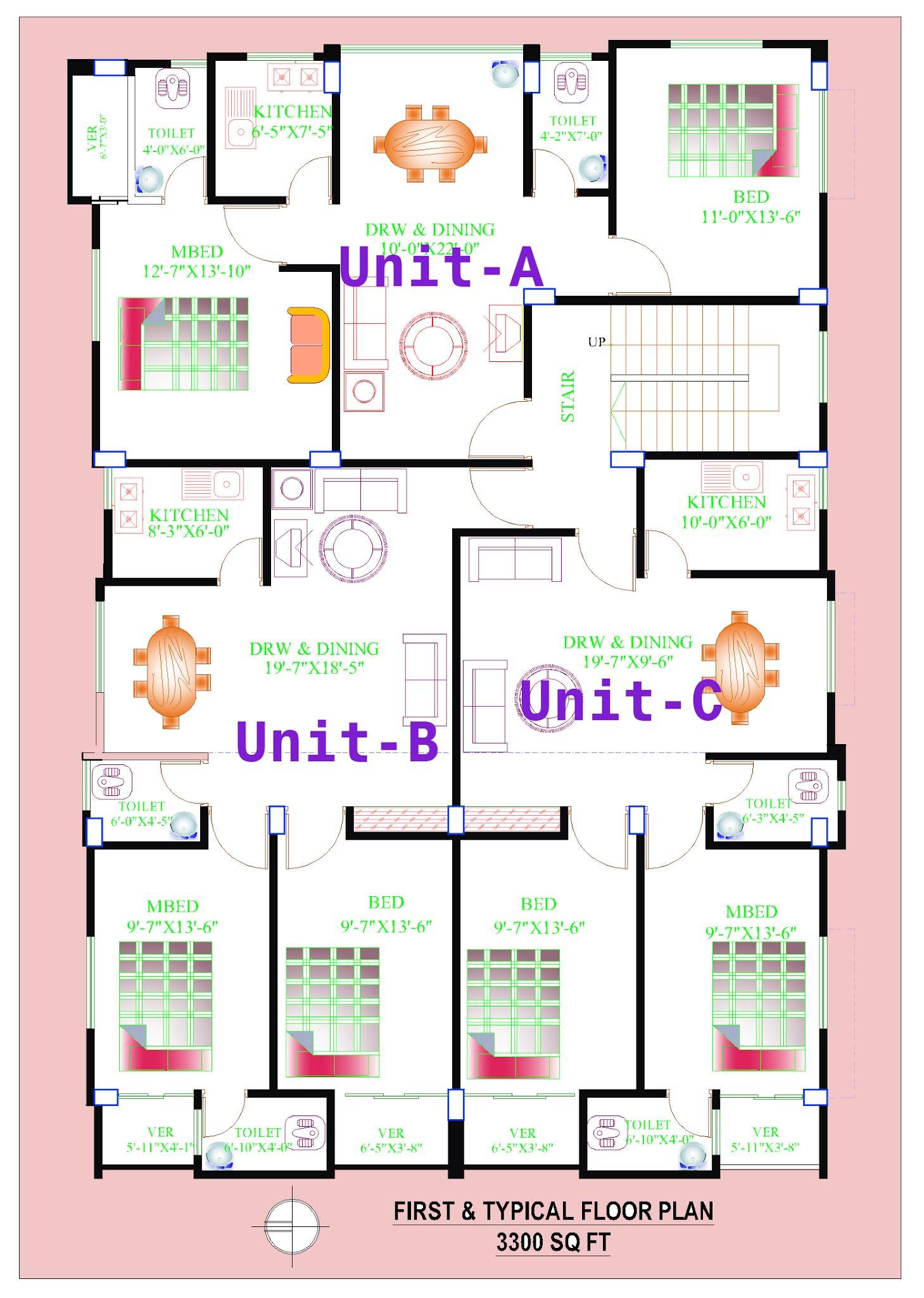 3300 sq ft floor plan