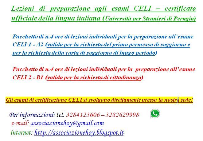 HOY!: Lezioni speciali per la preparazione agli esami CELI ...
