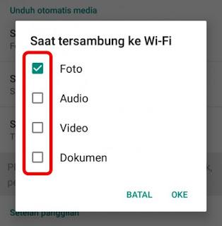 Setelan saat menggunakan wifi whatsapp