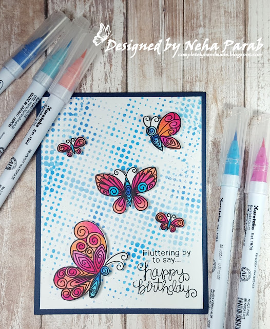 Butterfly Card by August Guest Designer Neha Parab | Beautiful Wings Stamp Set by Newton's Nook Designs #newtonsnook #handmade