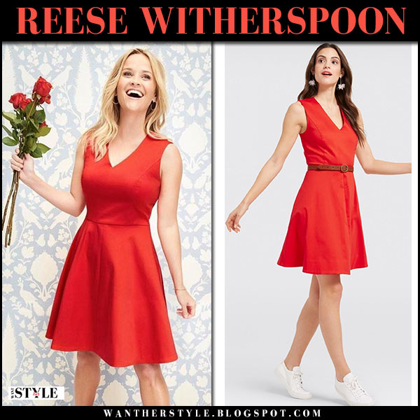 Reese Witherspoon in red sleeveless mini dress draper james valentines day fashion 2018