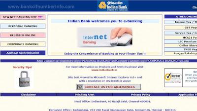 Visit Indian Bank official Website