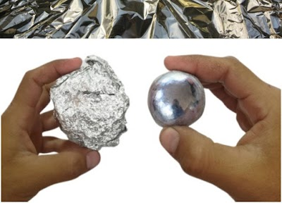 Bola pulida con kilos de papel de aluminio