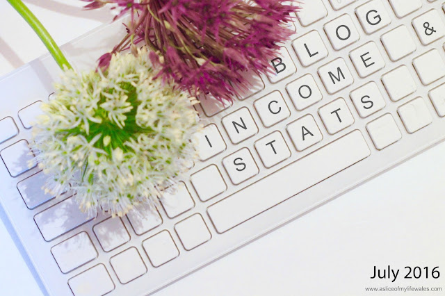 blogging income & stats report July 2016 - header image - flowers over keyboard with writing on keys