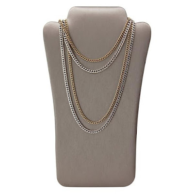 Nile Corp's Steel Gray Faux Leather Necklace Easel Display is perfect for minimalist gold jewelry