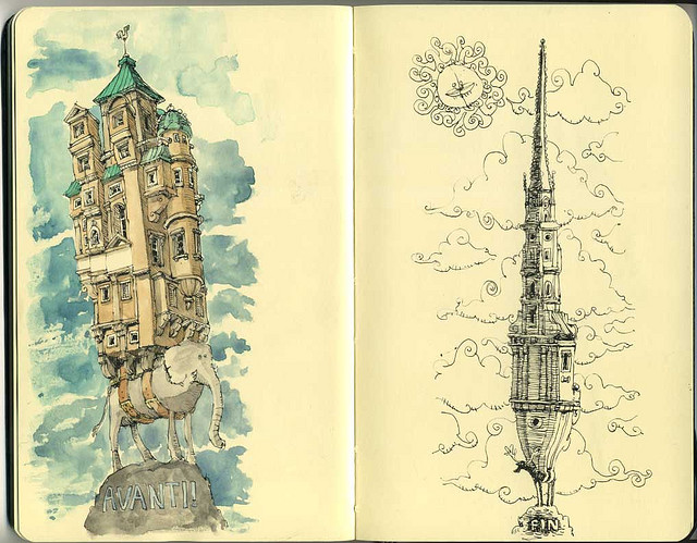 06-Avanti-Fin-Mattias-Adolfsson-Surreal-Architectural-Moleskine-Drawings-www-designstack-co