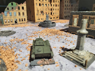Soviet armour fires on German infantry