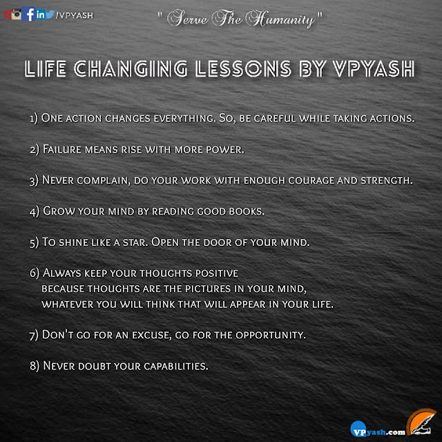 LIFE CHANGING LESSONS BY VPYASH
