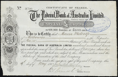 Federal Bank of Australia share certificate from the Museums Victoria Collections