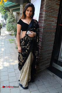 Actress Neetu Chandra Stills in Black Saree at Designer Sandhya Singh's Store Launch  0035.jpg