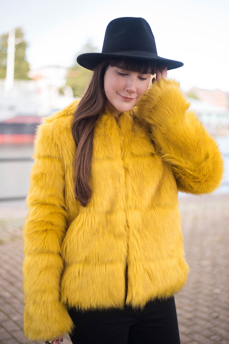 Bershka Yellow Faux Fur Jacket