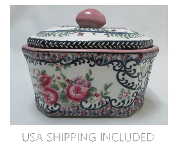 Hand Enameled Vintage Chinese Pottery Large Lidded Box