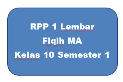 RPP Fiqih MA 1 Lembar Kelas 10 Semester 1