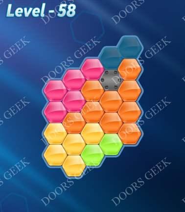Block! Hexa Puzzle [5 Mania] Level 58 Solution, Cheats, Walkthrough for android, iphone, ipad, ipod