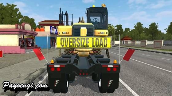 mod bussid truck daf xf trailer muatan alat berat cat