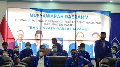 Amran Mahmud Kembali Jabat Ketua DPD PAN Wajo Secara Aklamasi