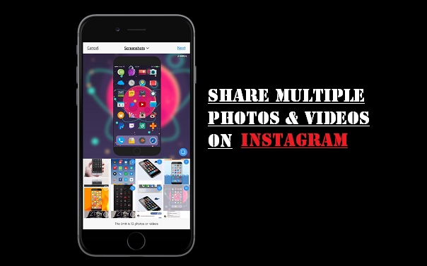 "Here is how to upload/share multiple instagrams photos and videos on iPhone. Step 1: Launch Instagram Step 2: Tap the ""Plus"" tab to upload photos or videos Step 3: You will see many icons here. Step 4: Tap the new ""Select Multiple"" icon on the right hand side"