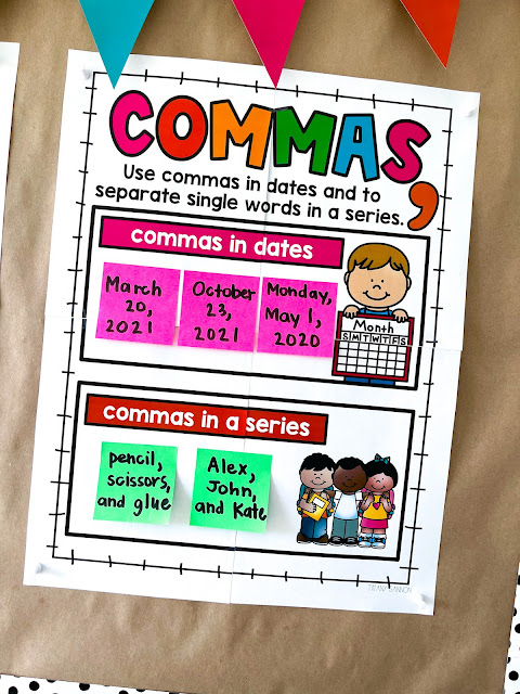 Grammar anchor charts and student language notebook for first grade.