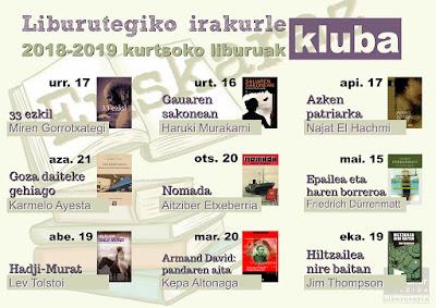 Leioako udal liburutegiko euskara irakurle klubaren programa 2018-2019
