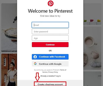 Welcome to Pinterest window highlighting create a business account option