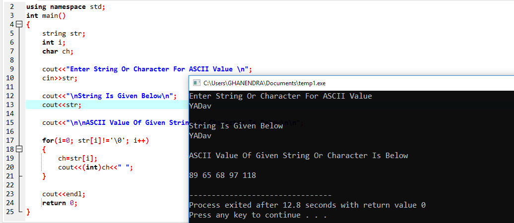C++ program to print ASCII value of a character