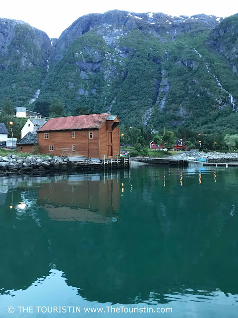 Eidfjord harbour at twilight in summer.