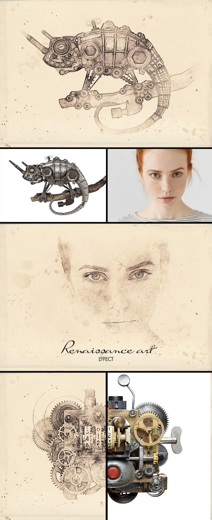 Renaissance Mixed Art Watercolor and Halftone Effect Mockup[Photoshop][387459948]