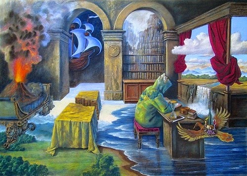 02-Geographer-Workshop-Marcin-Kołpanowicz-Paintings-of-Creative-Surreal-Worlds-ready-to-Explore-www-designstack-co