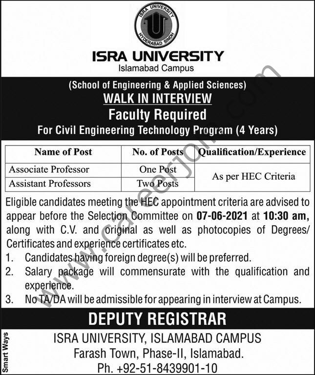 ISRA University Jobs  2021 in Pakistan