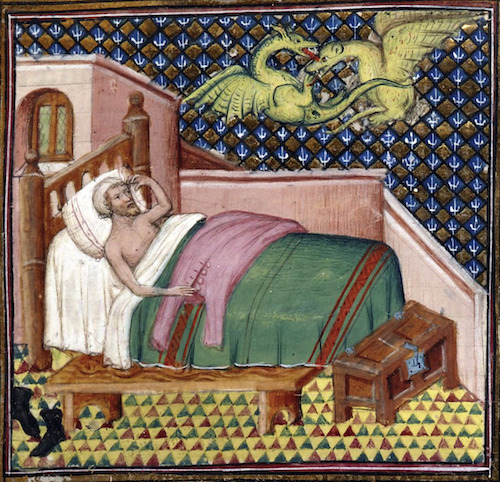 Illumination of man in bed with two dragons fighting above him. Paris, ca. 1400