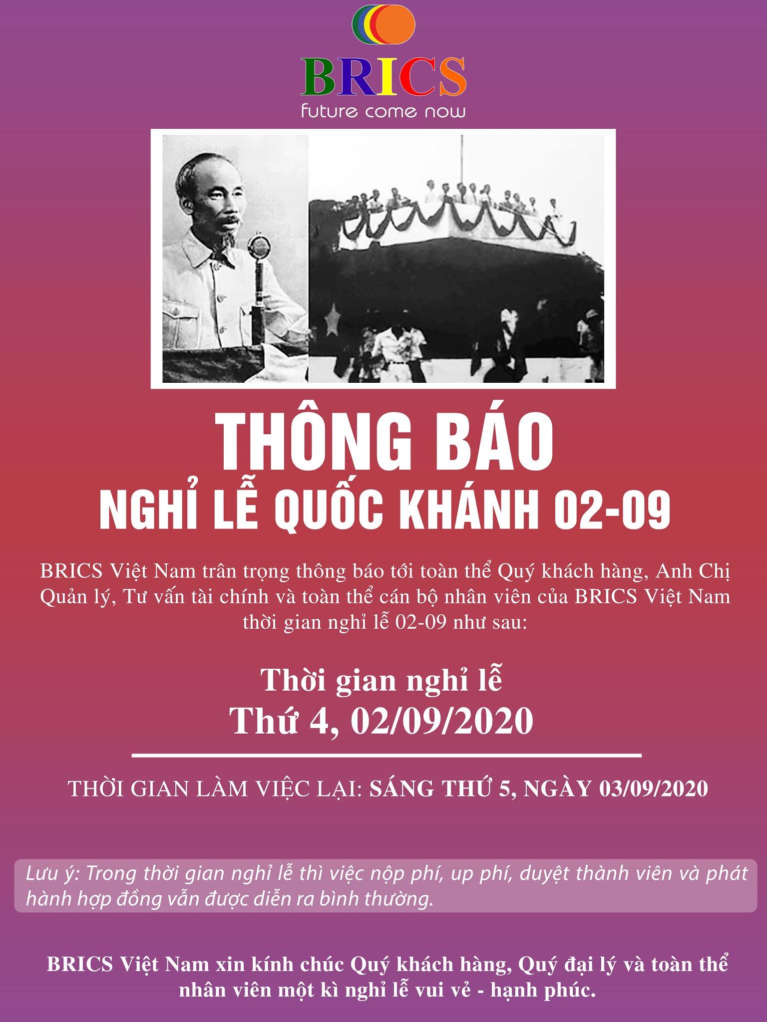THÔNG BÁO NGHỈ LỄ QUỐC KHÁNH 02-09-2020